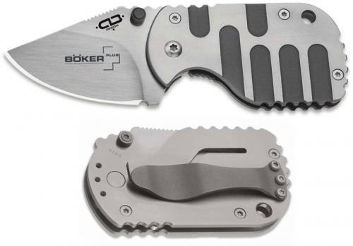 Boker Plus Subcom Titan VG-10 01BO605 - Chad Los Banos EDC - Satin VG-10 Clip Point - 2 Tone Titanium - Frame Lock