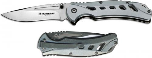 Boker Magnum Graymen 01LG450 Drop Point Slotted Greenish Gray Metal Liner Lock Folder