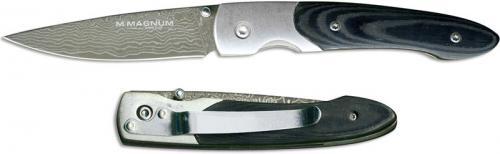 Boker Magnum Damascus Senior 01MB031DAM EDC Damascus Drop Point Black Composite Liner Lock Folder