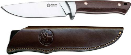 Boker Arbolito Hunter 02BA351G - Satin Drop Point Fixed Blade - Guayacan Ebony - Leather Sheath