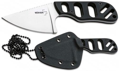 Boker Plus 02BO321 SFB Neck Knife Chad Los Banos Compact Fixed Blade Black G10 Handle