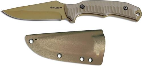 Boker Magnum Delta Tango 02LG273 Gold Color Drop Point Fixed Blade Knife Milled Sand G10