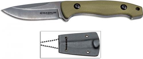 Boker Magnum 02RY867 Lil Friend Drop Dark Stonewash Fixed Blade Olive G10 Neck Knife