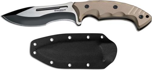 Boker Magnum Joint Adventure 02SC102 Two Tone Drop Point Fixed Blade Knife Milled Sand G10