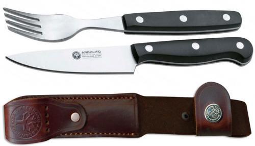 Boker Arbolito 03BA8303 Salida Grande Knife and Fork Set with Leather Sheath