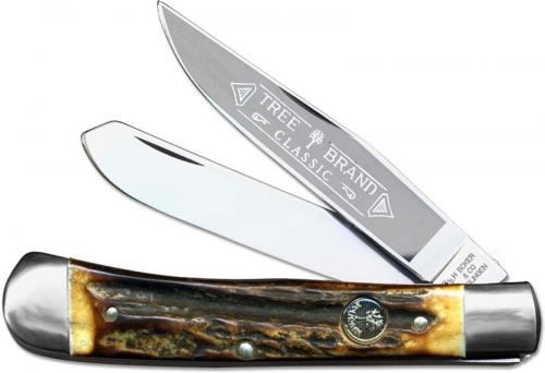 Boker Trapper Knife, Limited Stag with Blade Etch, BK-2525HHE