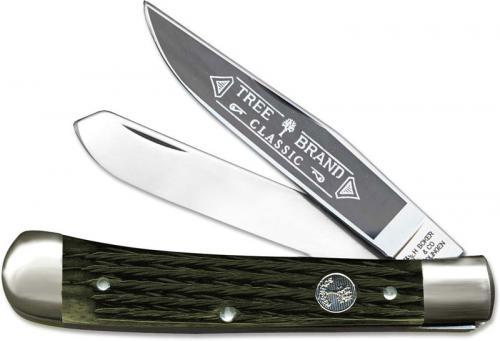 Boker Trapper Knife, Limited Jigged Green Bone, BK-2525JGB