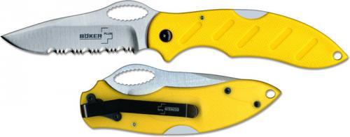 Boker Knives: Boker Plus TD Knife, Yellow Part Serrated, BK-BO191Y