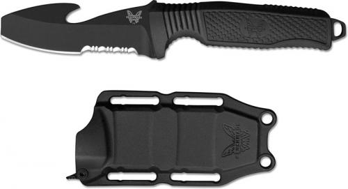 Benchmade 112SBKBLK H2O Fixed Dive Knife Part Serrated Black Blunt Tip Blade with Cord Cutter