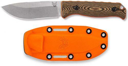 Benchmade Saddle Mountain Skinner 15002-1 - CPM S90V Drop Point Fixed Blade - Richlite / Orange G10 Handle - Hunting Knife - USA Made