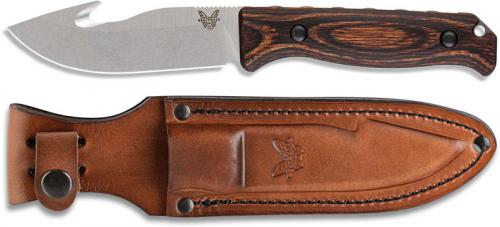 Benchmade Saddle Mountain Skinner 15004 - CPM S30V Gut Hook Fixed Blade - Stabilized Wood Handle - Hunting Knife - USA Made