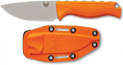 Benchmade Steep Country 15006 - CPM S30V Drop Point Fixed Blade - Orange Santoprene Handle - Hunting Knife - USA Made