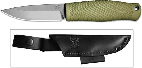 Benchmade 200 Puukko Finnish Style Bushcraft Knife Drop Point with Ranger Green Santoprene Handle USA Made