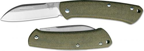 Benchmade 319 Proper Gent's EDC Slip Joint Folding Knife Green Micarta Handle USA Made