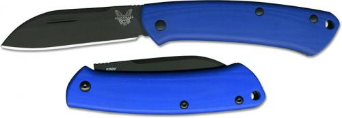 Benchmade Proper 319DLC-1801 Limited Edition Black DLC CPM S30V Sheepfoot Slip Joint with Blue G10 Handle