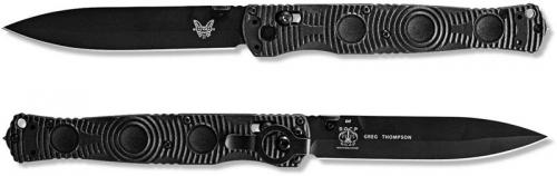 Benchmade SOCP Tactical Folder 391BK - Black Plain Edge D2 Spear Point - Black CF Elite - AXIS Lock Folder - USA Made
