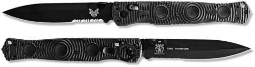 Benchmade SOCP Tactical Folder 391SBK - Black Part Serrated D2 Spear Point - Black CF Elite - AXIS Lock Folder - USA Made