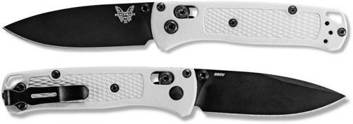 Benchmade Mini Bugout 533BK-1 Knife - Black S30V Drop Point - White Grivory - AXIS Lock Folder - USA Made