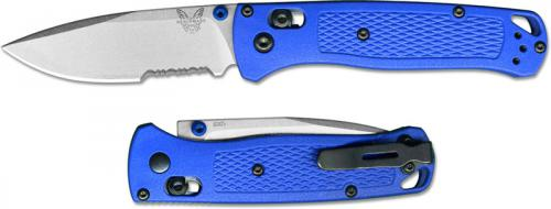 Benchmade Bugout 535S EDC Knife Part Serrated Drop Point Blue Grivory AXIS Lock Folder USA Made