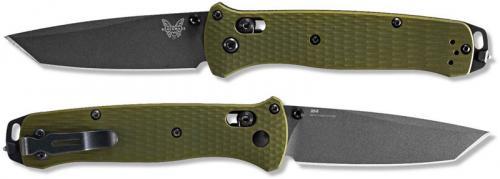 Benchmade Bailout 537GY-1 Knife - Plain Edge Gray M4 Tanto - Woodland Green Aluminum - AXIS Lock Folder - USA Made