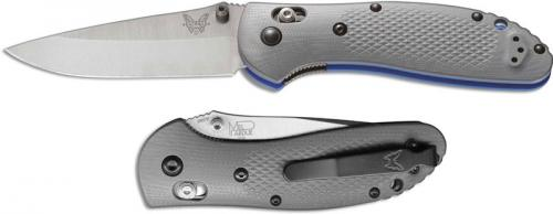 Benchmade G10 Griptilian 551-1 Knife Mel Pardue EDC Drop Point Gray and Blue G10