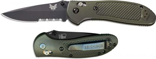 Benchmade Griptilian 551SBKOD Knife Mel Pardue EDC Part Serrated Black Drop Point OD GFN