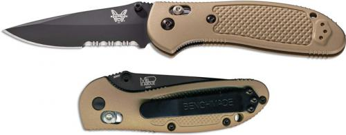 Benchmade Griptilian 551SBKSN Knife Mel Pardue EDC Part Serrated Black Drop Point Sand GFN