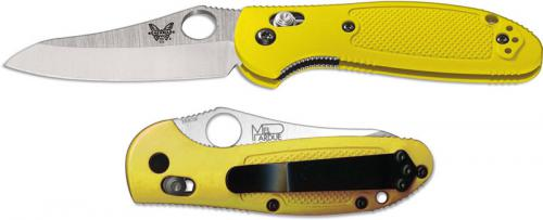 Benchmade Mini Griptilian 555HG-YEL Mel Pardue EDC Sheepfoot Yellow GFN AXIS Lock Folding Knife