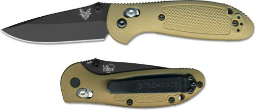 Benchmade Mini Griptilian 556BKSN Knife Mel Pardue EDC Black Drop Point Sand GFN
