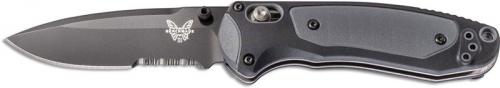 Benchmade 595SBK Mini Boost Part Serrated Black Drop Point AXIS Assist Folder Dual Durometer Handle