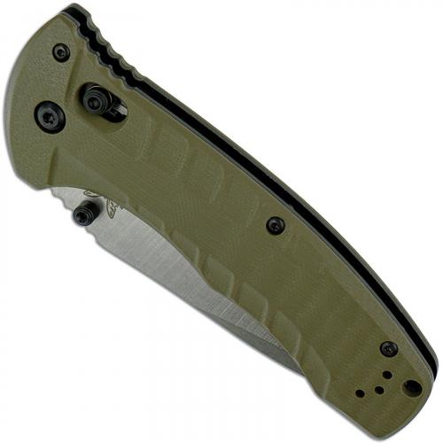 Benchmade 980 Turret Knife Satin Drop Point, Olive Drab G10 AXIS Lock Folder USA Made