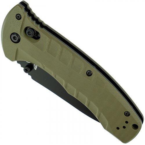 Benchmade 980SBK Turret Knife Part Serrated Black Drop Point, Olive Drab G10 AXIS Lock Folder USA Made