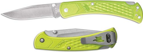 Buck 110 Slim Select EDC 0110GRS1 Clip Point Blade Chartreuse GFN Lock Back Folder Made in USA