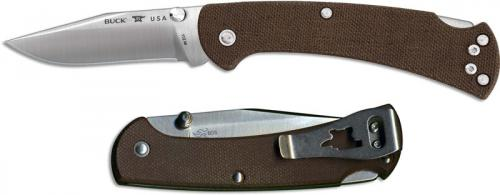 Buck 112 Slim Pro EDC 0112BRS6 S30V Clip Point Brown Micarta Lock Back Folder Made in USA