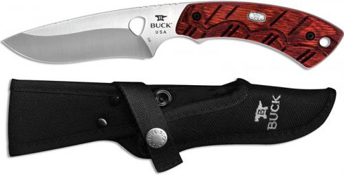 Buck Open Season Skinner 0536RWS Drop Point Fixed Blade Full Tang Red Wood Hunting Knife USA Made