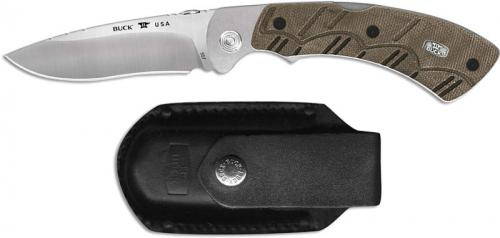 Buck Open Season Pro Folding Skinner 0557ODS Drop Point Blade OD Green Micarta Lock Back USA Made