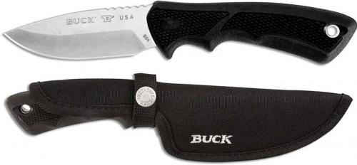 Buck Small BuckLite Max II Knife 0684BKS - Drop Point Fixed Blade - Black Rubber Handle - Made in USA