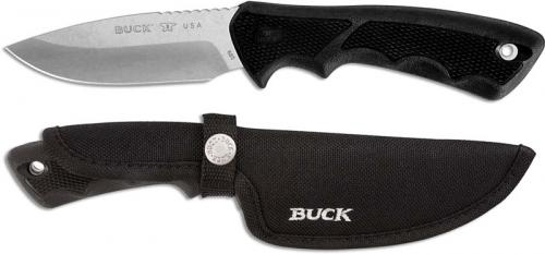 Buck Large BuckLite Max II Knife 0685BKS - Drop Point Fixed Blade - Black Rubber Handle - Made in USA