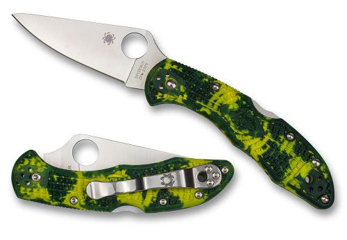 Spyderco Delica 4 Knife Flat Ground S30V with Yellow and Green Zome FRN Limited Run
