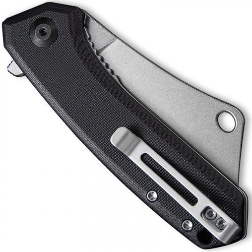 CIVIVI Mini Mastodon Knife C2011C - Stonewash Cleaver Style Blade - Black G10 - Liner Lock Flipper Folder