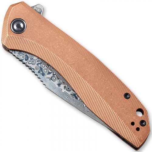 CIVIVI Baklash Knife C801DS-2 - Damascus Drop Point - Stonewash Copper - Liner Lock Flipper Folder