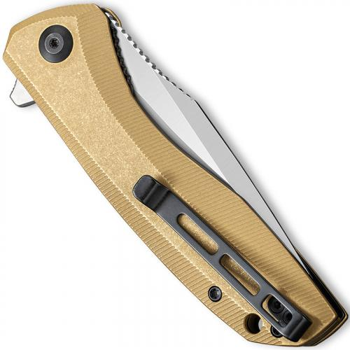 CIVIVI Baklash Knife C801J - Satin 154CM Drop Point - Stonewash Brass - Liner Lock Flipper Folder