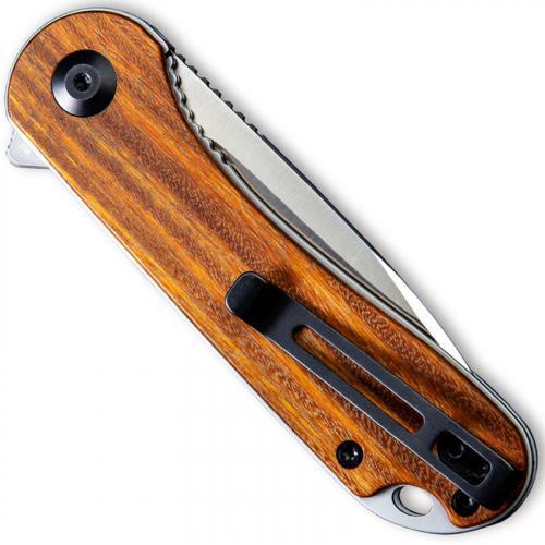 CIVIVI Elementum Knife C907C - Satin D2 Drop Point - Rosewood - Liner Lock Flipper Folder