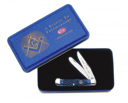 Case Knives: Case Masonic Trapper Knife with Tin, CA-1058