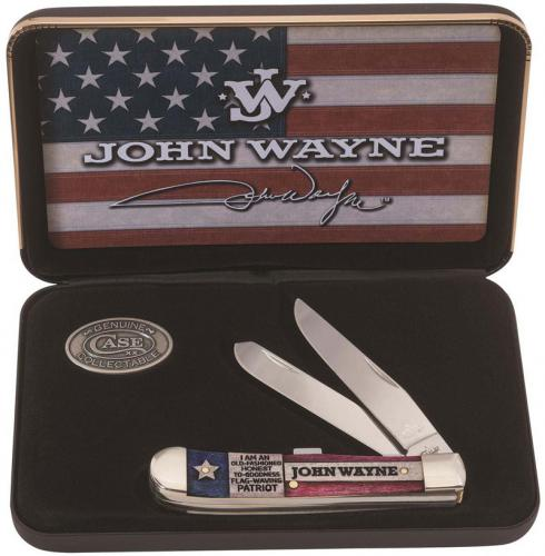 Case 10702 John Wayne Trapper Knife Commemorative Set Embellished Smooth Natural Bone 6254SS