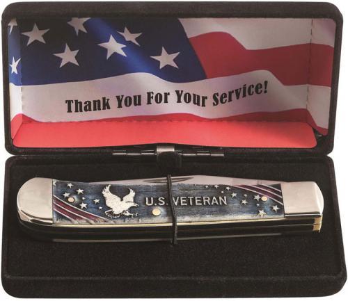 Case 16300 U.S. Veteran Trapper Knife Gift Set Embellished Smooth Natural Bone 6254SS