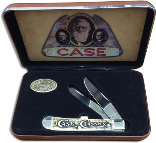 Case Classics Trapper Knife Set 16490 Embellished Smooth Natural Bone 6254SS