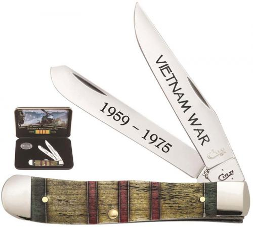Case 22040 Vietnam War Trapper Knife Gift Set Embellished Smooth Natural Bone 6254SS