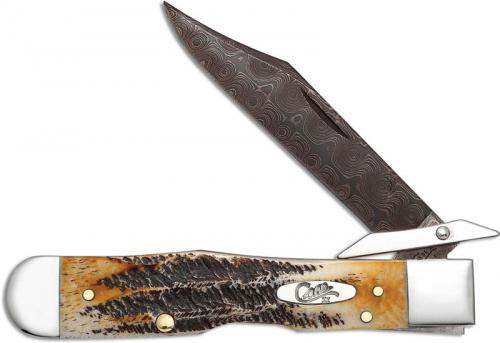 Case Cheetah Knife 34801 Limited Damascus Blade BoneStag Handle 6.5111 1 / 2LDAM