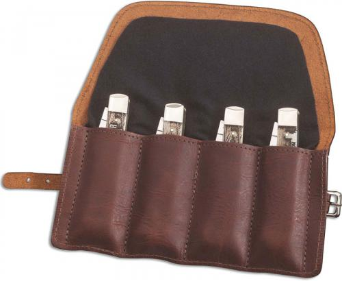 Case 50246 Gentleman's Knife Roll, Leather with Flannel Lining Holds 4 Medium Size Folding Knives